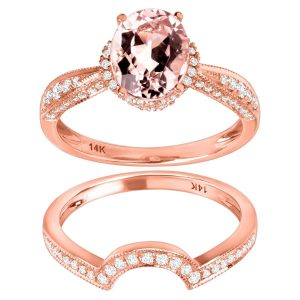 1 3/4 ct Morganite & 3/8 ct Diamond Ring
