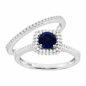 7/8 ct Sapphire & 1/2 ct Diamond Ring